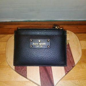 Kate Spade NY Black Coin Purse Card Holder Zipper
